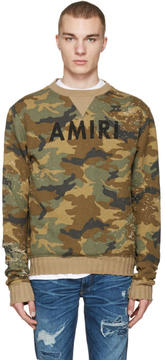 Amiri Brown Camo Logo Pullover