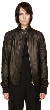 Rick Owens Black Leather Intarsia Jacket