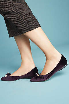 All Black Velvet Almond-Toe Flats