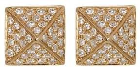 Ef Collection 14K Yellow Gold Pave Diamond Mini Pyramid Stud Earrings - 0.18 ctw