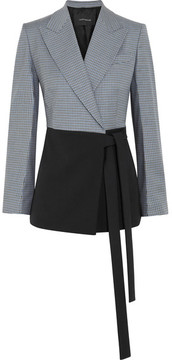 Cédric Charlier Checked Wool-blend Wrap Jacket - Midnight blue