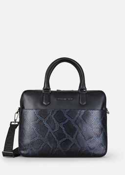 Emporio Armani python-effect leather briefcase with shoulder strap