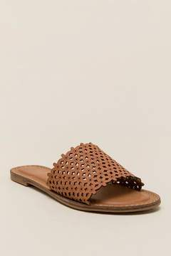 XOXO Rachad Perforated Slide Sandal - Tan