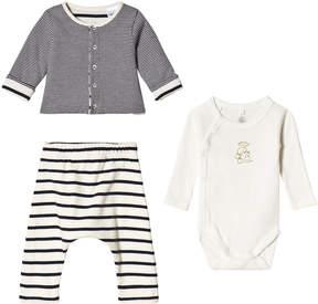 Petit Bateau Black White And Grey Stripe Baby Clothing Set