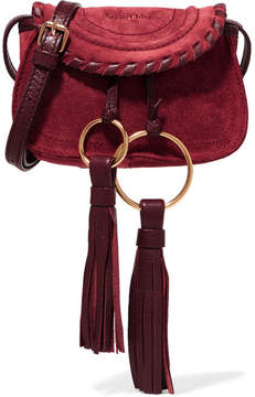 See by Chloé - Polly Mini Leather-trimmed Tasseled Suede Shoulder Bag - Burgundy