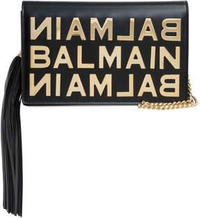 Balmain Pochette black golden logo clutch