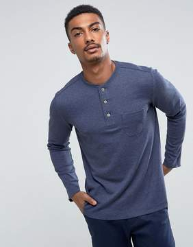 MANGO Man Long Sleeve Top With Buttons In Navy