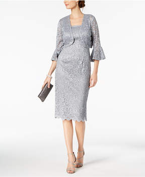 Alex Evenings Glitter-Lace Dress & Bell-Sleeve Jacket