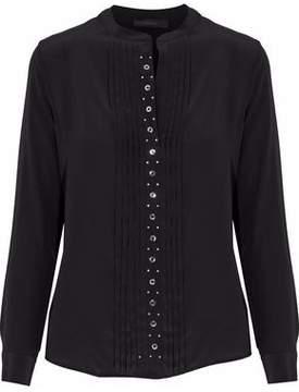 Belstaff Pintucked Embellished Silk Blouse