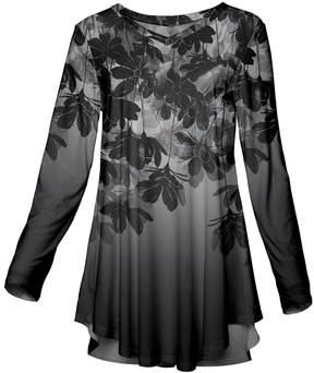 Azalea Gray & Black Floral Long-Sleeve Tunic - Women & Plus