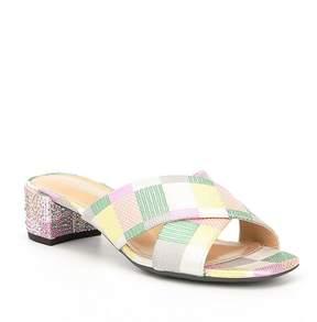 J. Renee Cindee Checkerboard Print Block Heel Slide Sandals