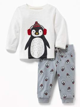 Old Navy Penguin Graphic Tee & Printed Joggers Set for Baby