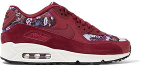 Nike Air Max 90 Se Floral-print Canvas, Leather And Suede Sneakers - Burgundy