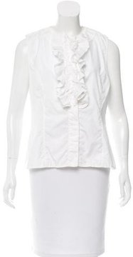 Andrew Gn Sleeveless Ruffle-Trimmed Top