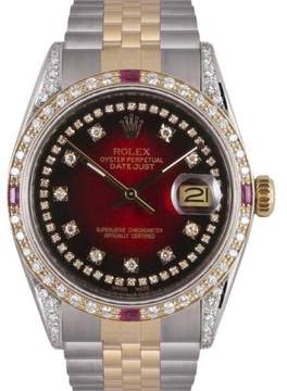 Rolex Datejust Stainless Steel & 18K Yellow Gold Red Dial wDiamond Automatic 36mm Mens Watch