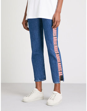 Aries Slogan cropped mid-rise jeans