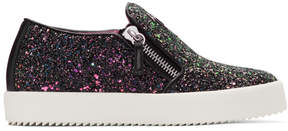 Giuseppe Zanotti SSENSE Exclusive Black Glitter May London Slip-On Sneakers