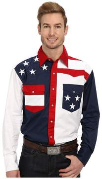 Roper Pieced Stars and Stripes Patriotic Men's Long Sleeve Button Up