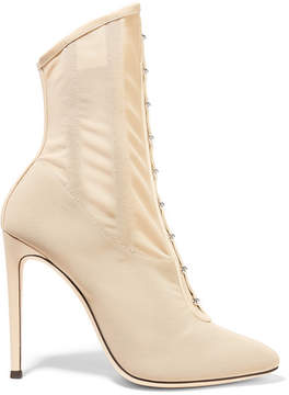 Giuseppe Zanotti Janice Leather-trimmed Stretch-mesh Ankle Boots - Beige