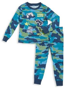 Petit Lem Little Boy's Cotton-Blend Camo Long-Sleeve Top and Pants Set