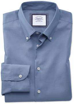 Charles Tyrwhitt Extra Slim Fit Button-Down Business Casual Non-Iron Mid Blue Cotton Dress Shirt Single Cuff Size 14.5/33