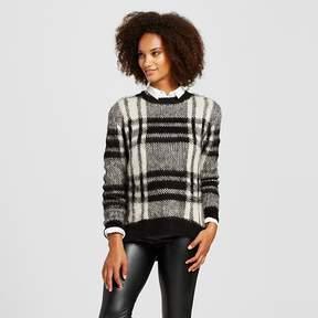 Cliche Women's Plaid Fuzzy Sweater Black/White