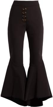 Ellery Sin City high-rise ruffled-cuff cropped trousers