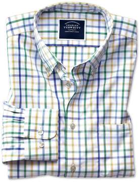Charles Tyrwhitt Extra Slim Fit Button-Down Non-Iron Poplin Green Multi Check Cotton Casual Shirt Single Cuff Size Small