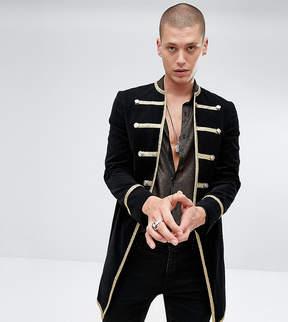 Reclaimed Vintage Inspired Admiral Coat In Black Velour