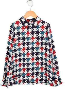 Marni Girls' Houndstooth Pointed Collar Top w/ Tags