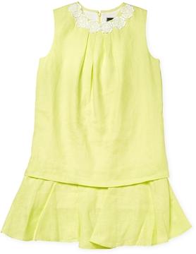 Oscar de la Renta Linen Multi Layer Dress