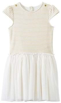 Petit Bateau Girl's dual-fabric gold dress