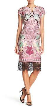 ECI Cap Sleeve Print Scuba Sheath Dress