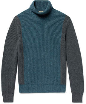 Loro Piana Dolcevita Fortrose Colour-Block Ribbed Cashmere Rollneck Sweater