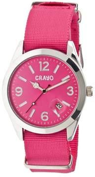 Crayo Sunrise Hot Pink Dial Hot Pink Nylon Ladies Watch