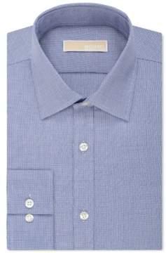 Michael Kors Non-Iron Houndstooth Button Up Dress Shirt Blue 14 1/2