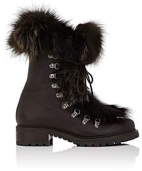 Barneys New York Women's Fur-Trimmed Leather Ankle Boots