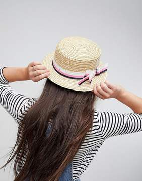 Asos Natural Straw Short Brim Boater with Stripe Bow and Size Adjuster