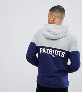 Majestic Patriots Chevron Panel Hoodie With Back Print In Navy