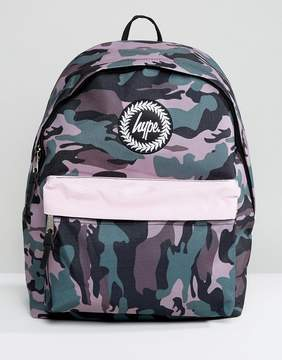 Hype Camo Print Backpack with Contrast Pocket