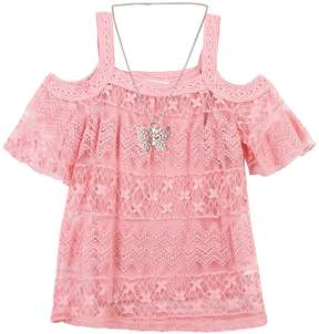 Speechless Girls 7-16 Crochet Overlay Cold Shoulder Tunic Top with Butterfly Necklace