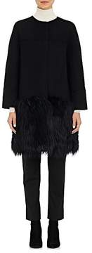 Barneys New York Women's Fur-Hem Wool-Blend Melton Coat