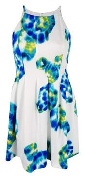 Calvin Klein Women's Printed Halter Fit & Flare Dress (Atlantis Multi, 12)