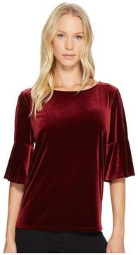 CeCe Elbow Bell Sleeve Knit Velvet Top Women's Clothing