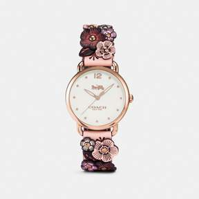 COACH COACH DELANCEY WATCH WITH FLORAL APPLIQUE, 36MM - NUDE PINK