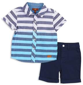 7 For All Mankind Boys' Striped Dip-Dye Shirt & Twill Shorts Set - Baby