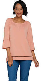 C. Wonder Stretch Peasant Blouse with 3/4Flutter Sleeves