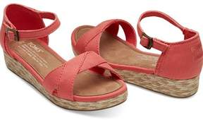 Toms Sandaler, Young, Coral Cotton Twill