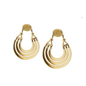 Azza Fahmy 18 Carat Yellow Gold Calligraphy Layered Earrings