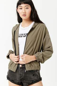 Forever 21 Hooded Zip-Front Jacket